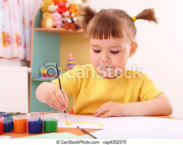 Child play with paints in preschool - csp4352370