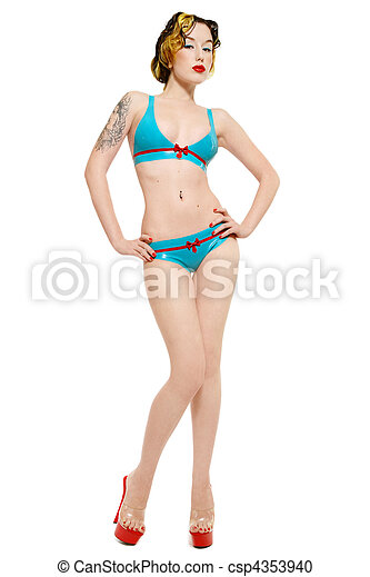 Pin-up girl in latex bikini - csp4353940