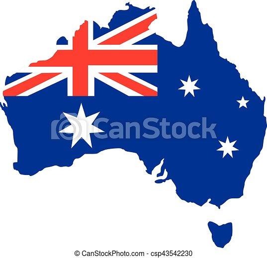 Australia map with flag - csp43542230