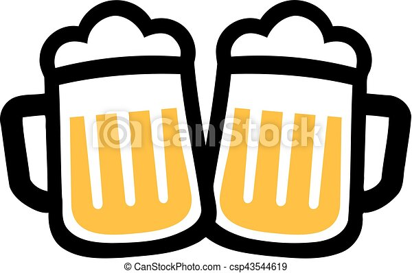 Vector Clip Art of Beer mugs icons cheers csp43544619 - Search ...
