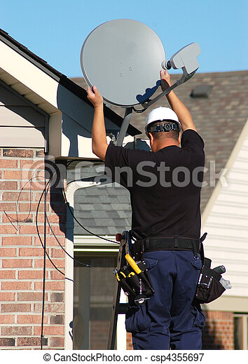 Satellite dish worker - csp4355697