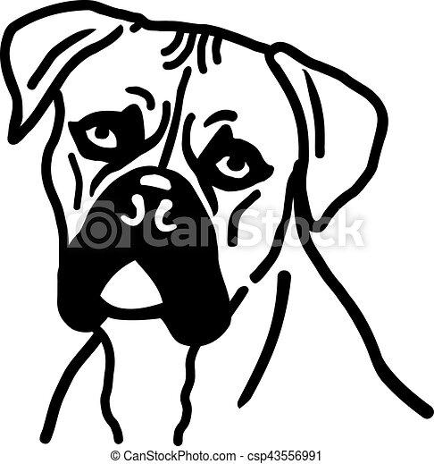 Vecteurs eps de t te chien boxeur boxer chien t te - Dessin tete de chien ...