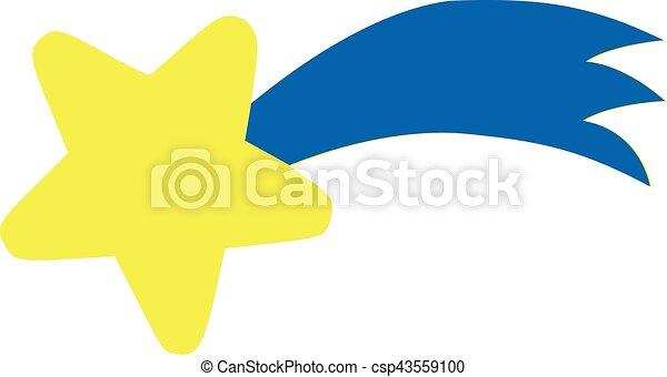 Vector Clip Art de estrella azul  amarillo cola caer  Yellow