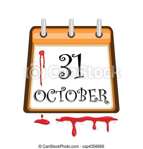 Halloween Bloody Calendar Date - csp4356666