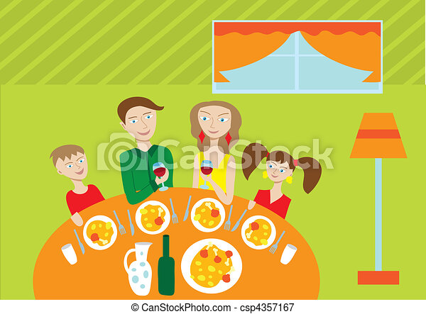 Happy family at the table - csp4357167