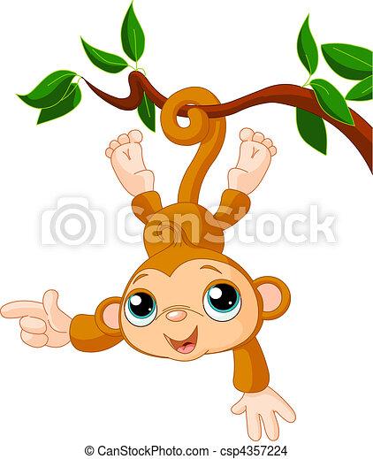 baby, visande, träd, Apa - csp4357224
