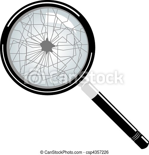 Clip Art Vector of broken magnifying glass vector isolated on ...