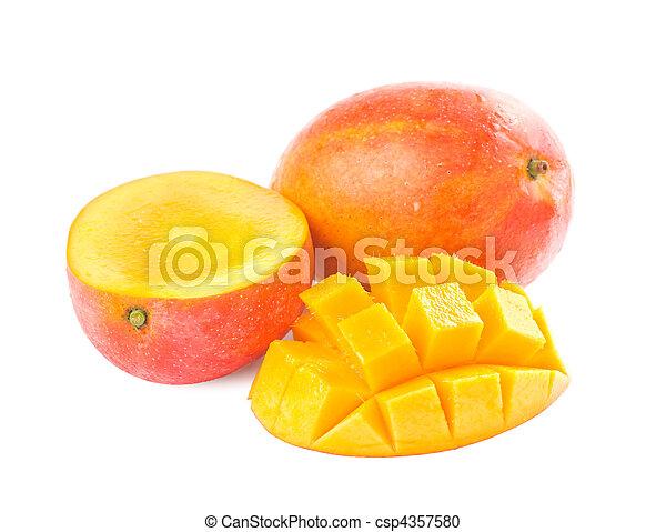 Fresh delicious mango fruit and slice - csp4357580