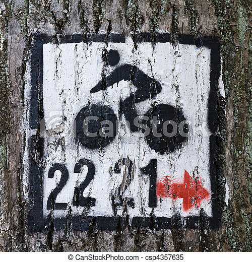 paint bicycle sign on tree  - csp4357635