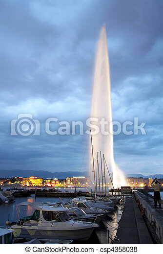Geneva water jet by night - csp4358038