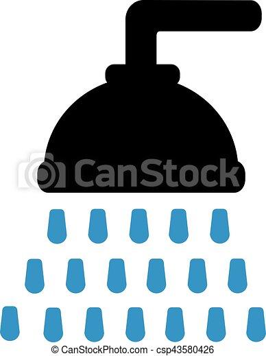Duschkopf clipart  Vektor Illustration von duschkopf, tropfen - Shower, kopf, mit ...