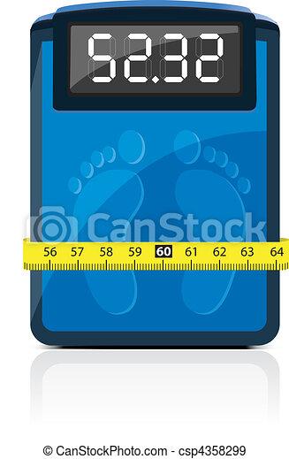 cuarto de baño, escala, medición, cinta - csp4358299