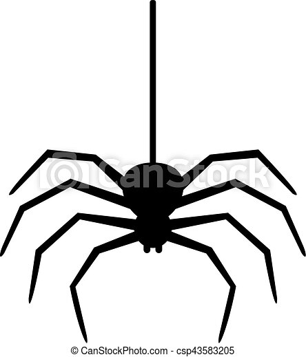 vektor clipart von spinne faden h ngender spider h ngen a faden csp43583205 suche. Black Bedroom Furniture Sets. Home Design Ideas