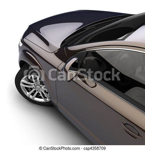 Car with a dark two-tone paint in the studio - csp4358709