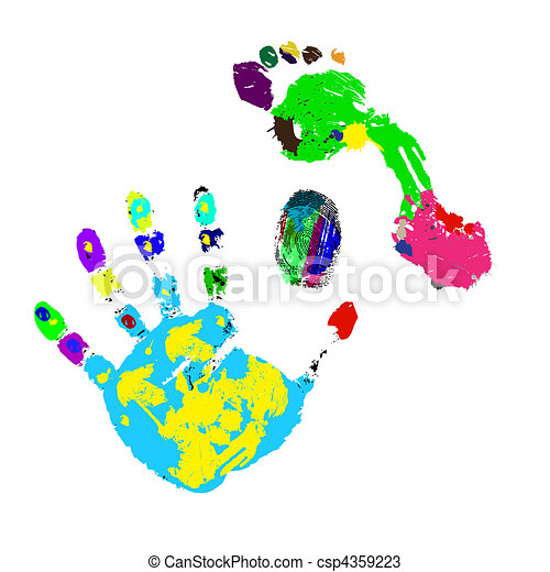 Prints of a foot, hand and finger - csp4359223