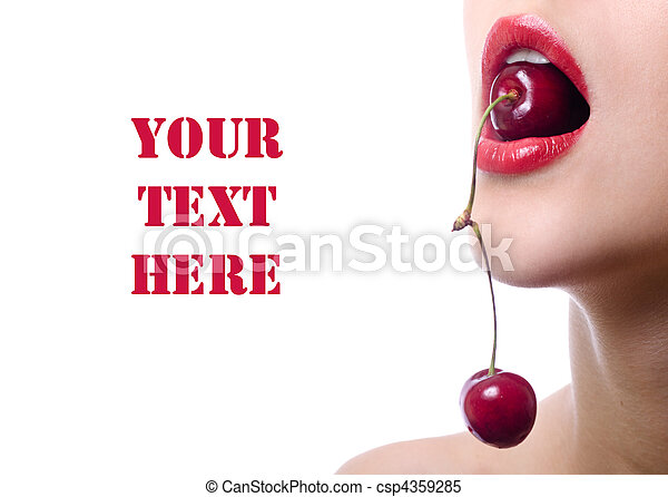 cherry in mouth of young woman. isolated with copy space - csp4359285