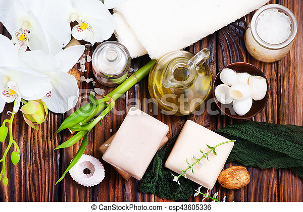 spa objects on the wooden background, SPA