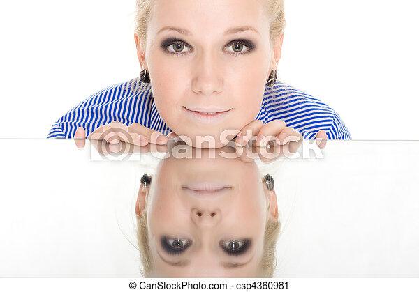 woman reflection mirror smile white background - csp4360981