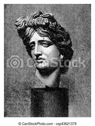Marble head of Apollo Belvedere, ancient Roman copy - csp43621379
