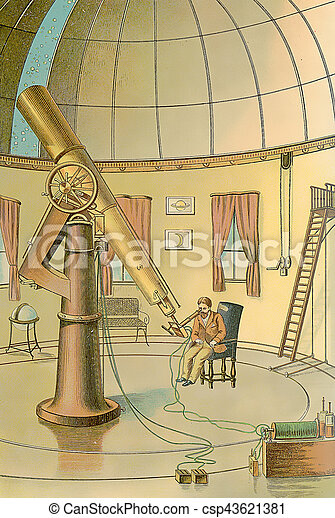 Astronomic observatory, vintage image, XIX century - csp43621381