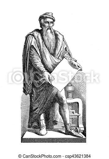 Johannes Gutemberg, vintage engraving - csp43621384