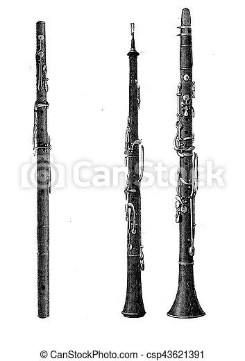 Musical wind instruments, oboe, vintage engraving - csp43621391