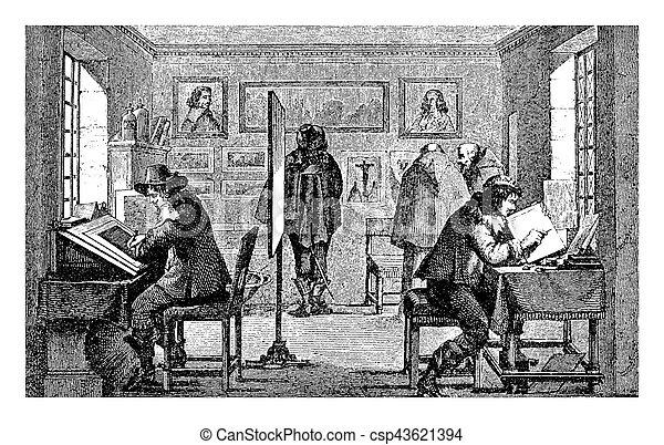 Artisans working at copper etchings, medieval workshop - csp43621394