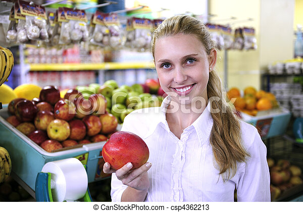 Woman shopping for fruits in the supermarket - csp4362213