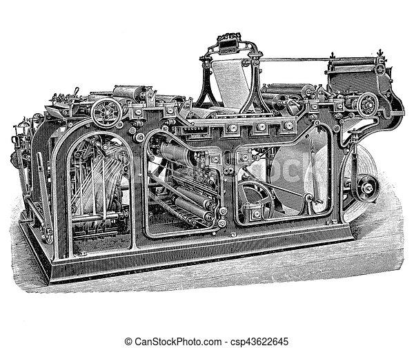 Rotary printing press machine, vintage engraving - csp43622645