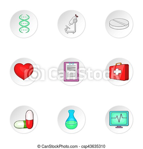 Treatment icons set. Cartoon illustration of 9 treatment icons for web