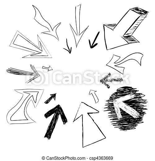 Doodled Arrows - csp4363669