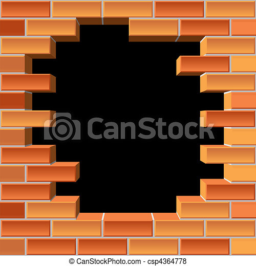 hole in brick wall - csp4364778