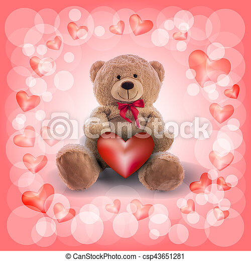 red heart and a teddy bear, romantic symbolism