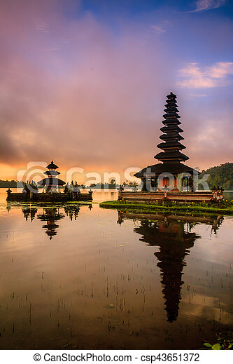 View of mountain, lake and a temple in Bali Indonesia