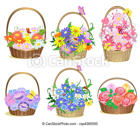 Vector Clipart of Baskets of flowers csp4365500 - Search ...