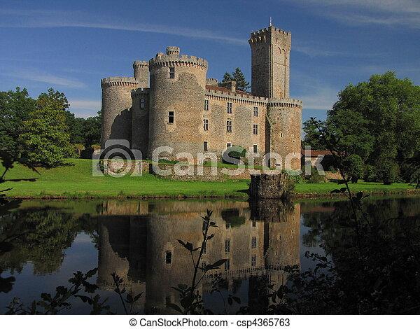 Lake, Montbrun Castle, tower - csp4365763