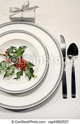 Elegant christmas place setting - csp43662537