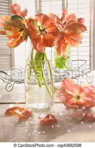 Colorful tulips on table - csp43662598