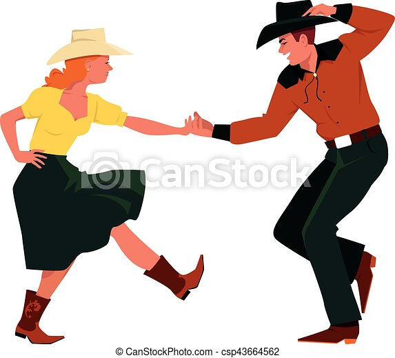 Clip Art Vector of Country Western dancing - Couple dancing ...