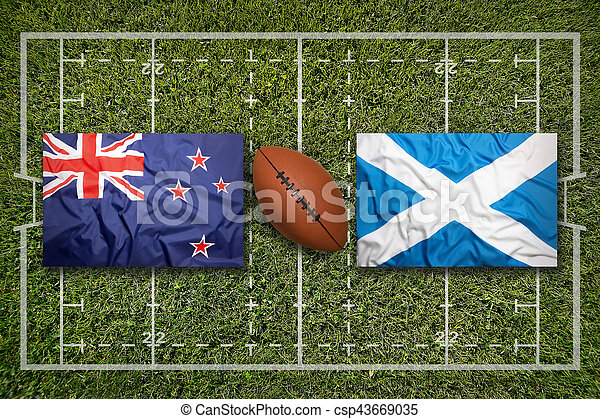 New Zealand vs. Scotland flags on green rugby field