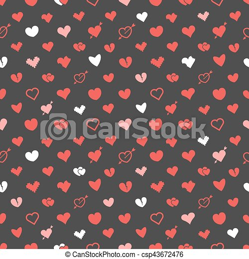 Different abstract hearts pattern. Valentines greeting card layout - csp43672476