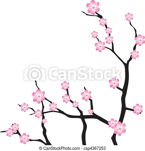 Oriental cherry branch. Vector - csp4367253