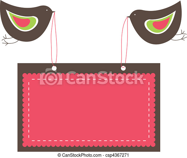 banners with two birds. vector  - csp4367271