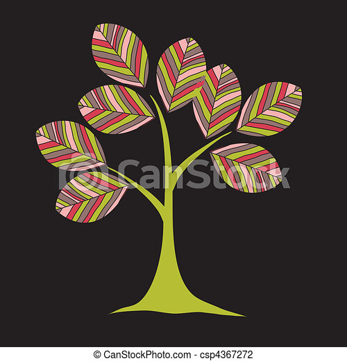 card design with stylized trees - csp4367272
