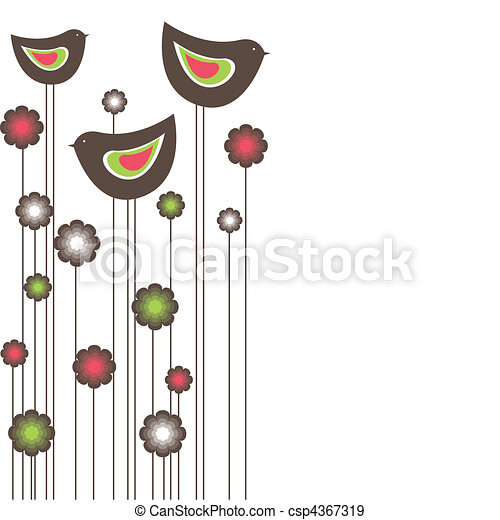 Tree birds. vector illustration - csp4367319