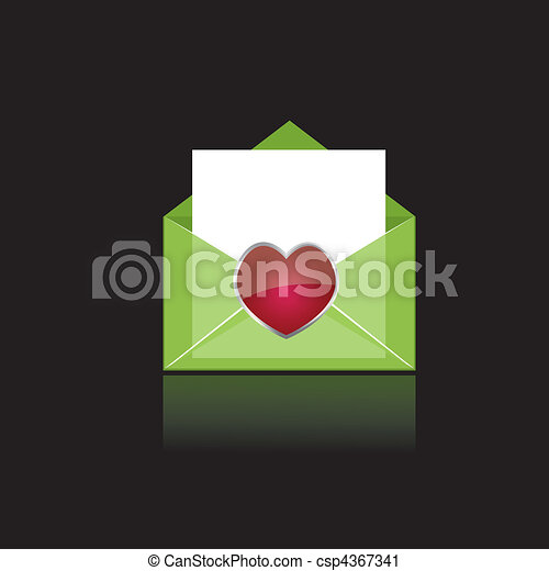 Colorful green mail with heart . - csp4367341