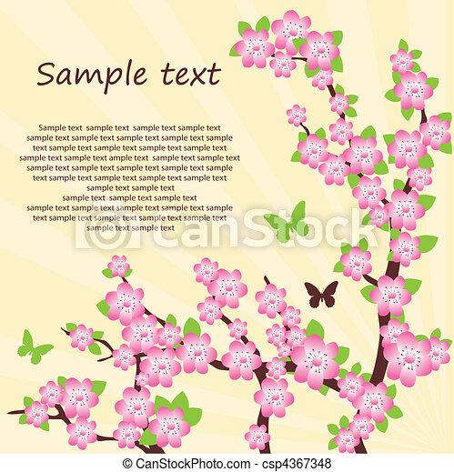 Oriental cherry branch. Vector - csp4367348