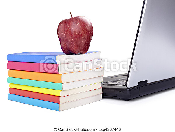 laptop computer books apple fruit food education school - csp4367446