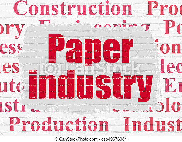 Industry concept: Painted red text Paper Industry on White Brick wall background with Tag Cloud