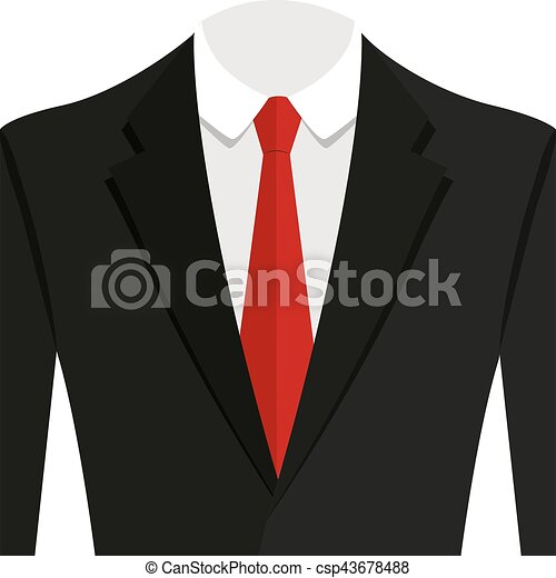 Vector illustration of black man suit with red tie and white shirt - csp43678488